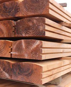 Brown Treated Log Lap Groove Sleeper 2.4m x 194 x 94-0