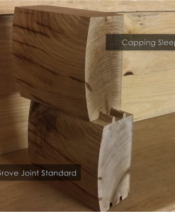Brown Treated Log Lap Groove Capping Sleeper 2.4m x 194 x 94-0